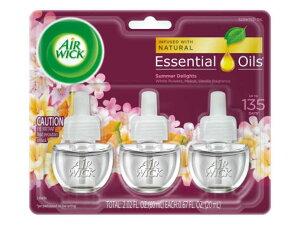 AIR WICK Scented Oil Summer Delights 3Refillsエアーウィック芳香オイル・詰め替え用・芳香剤・香り・アメリカ・詰め替えボトル・バニラ・メロン・ホワイトフラワー・ミックス・Mix・New・3種類のミッ