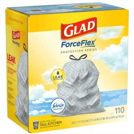 GLAD Trash Bags Febreze Fresh Clean 13Gallon 110枚入り 49.2L グラッド トラッシュ バッグ ファブリーズ フレッシュクリーン ゴミ袋 香り付き ごみ袋 アメリカ