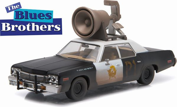 """**1:43 HOLLYWOOD BLUES BROTHERS (1980) - 1974 DODGE MONACO """"BLUESMOBILE"""" WITH HORN ON ROOF - NEW HORN TOOLING 1/43 SCALE DIECAST MODEL ミニカー・アメリカ・USA・アメ車・ブルースブラザーズ"""