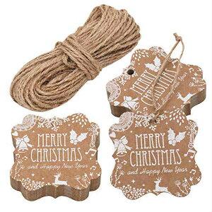 Kraft Paper Christmas Gift Tags タグ 100枚 麻紐セット クラフトペーパー クリスマス ギフト メッセージカード 値札 ギフト お祝い 新年 贈り物タグ 荷札 店舗 アメリカ ラッピング