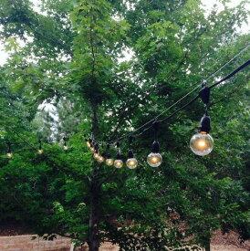 Outdoor COMMERCIAL GRADE STRINGER Lights 防水タイプ Black&White 25球 G50 7m 連結が可能 アウトドアグランドストリングライト ブラック ガーデニング イルミネーション 電飾 屋外用 業務用 パーティー ランプ アメリカ