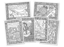 Assorted Aloha Coloring Cards 6枚セット・ハワイアン・カード・塗り絵・ハワイ・アロハ・ぬりえ・グリーティングカード
