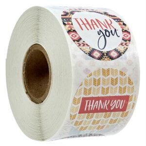Thank you STICKER2 サンキュー ステッカーロール 500ラベル アメリカ ありがとう ギフトラッピング シール プレゼント 業務用 販促品