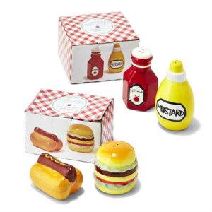 Salt & Pepper Shakers 2個セット セラミック ハンバーガー ホットドッグ ケチャップ マスタード ソルト ペッパー シェイカー 陶器 塩 胡椒 シェイカー しお コショウ ケース アメリカ キッチン 業