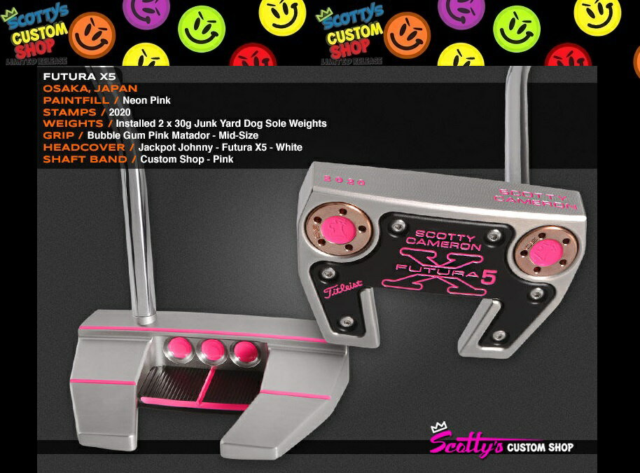 ★PUTTER OF THE DAY 2015★2020 刻印 All PINK★カスタムショップスコッティーキャメロンフューチュラ X5(Futura X5)34in F1Junk Yard Dog 刻印 30g×2Bubble Gum Pink Matador-Mid-Size