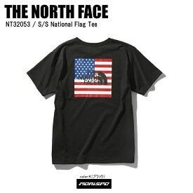 [ネコポス対応]THE NORTH FACE ノースフェイス tシャツ S/S NATIONAL FLG T ナショナルフラッグt NT32053 ブラック ST