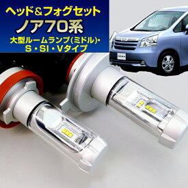 (LEDヘッド&フォグセット) ノア(ZRR7#系)大型ルームランプ(ミドル)/S/SI/Vタイプ(H19.6〜H25.12)H11(H8)&H11(H8) (ハロゲン仕様車) (トヨタ)