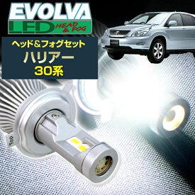 (LEDヘッド&フォグセット)(トヨタ)ハリアー(ACU・GSU・MCU3#系)(H15.2〜H17.12)ヘッドH11(H8)&フォグHB4(ハロゲン仕様車) デルタダイレクト エボルヴァ LED トップファン EVOLVA ヘッドライト