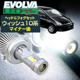 (LEDヘッド&フォグセット)(トヨタ)ウィッシュ(ANE/ZNE1#系 マイナー後)(H17.9〜H21.3)ヘッドH11(H8)&フォグHB4 デルタダイレクト エボルヴァ LED トップファン EVOLVA ヘッドライト