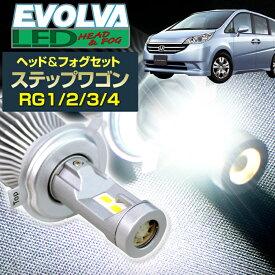 (LEDヘッド&フォグセット)(ホンダ)ステップワゴン(RG1/2/3./4)(H17.5〜H21.9)ヘッドH11(H8)&フォグH11(H8) デルタダイレクト エボルヴァ LED トップファン EVOLVA ヘッドライト