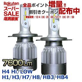 【楽天スーパーSALE】【安心の返金保証付】ヘッドライト LED H4HiLoW H1 H3 H7 H8 H11 HB3 HB4 【Stakeholder HOMING-X】7600ルーメン 36W 6000K スリムコンパクト フォグランプ ハイビーム