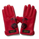 【Softmachine】ソフトマシーン【Roses Leather Glove】Red【レザーグローブ】本革【手袋】グローブ【ソフトマシン】送料無料
