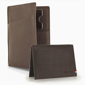 "APTO PARIS""PACK-Nomade Wallet+Card Holder"" DK.BROWN こげ茶ノマドウォレットとコインホルダーのセット[イタリアンレザー ノマドウォレット トラベルウォレット パスポートケース]"