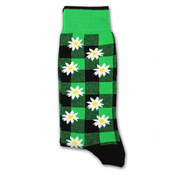 "Mark McNairy x DEMOCRATIQUE SOCKSBuffalo Daisy Sea Green""シーグリーンバッファローチェック・デイジー"" [デモクラティック コラボ マークマクナイリー メンズクルーソックス 靴下 北欧 チェック 花柄 ]"