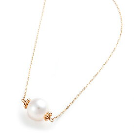 アコヤ真珠 ネックレス K10 イエローゴールド 約7mm 約7ミリ 40cm 長さ調節可能(アジャスター付き) あこや真珠 ネックレス シンプル パール 本真珠 真珠