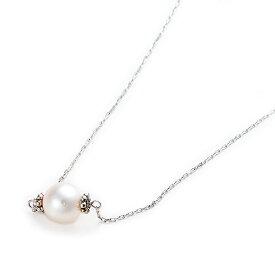 アコヤ真珠 ネックレス K10 ホワイトゴールド 約7mm 約7ミリ 40cm 長さ調節可能(アジャスター付き) あこや真珠 ネックレス シンプル パール 本真珠 真珠