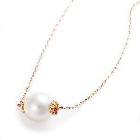 パールネックレス 約7mm アコヤ真珠 ネックレス K10 ピンクゴールド 約7ミリ 40cm 長さ調節可能(アジャスター付き) あこや真珠 ネックレス シンプル パール 本真珠 真珠