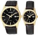 CITIZEN BI5002-06E-EU6002-01E シチズン 電池式 ペア ウォッチ 腕時計 時計 ゴールド ブラック レザーベルト 【送料無料】【代引手数…