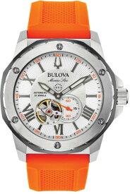 BULOVA 98A226 ブローバ マリンスター メンズ 自動巻 オートマ ウォッチ 時計 オレンジ ラバーベルト 200m防水