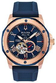 BULOVA 98A227 ブローバ マリンスター メンズ 自動巻 オートマ ウォッチ 時計 ローズゴールド ブルー ラバーベルト 200m防水
