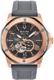 BULOVA 98A228 ブローバ マリンスター メンズ 自動巻 オートマ ウォッチ 時計 ローズゴールド グレー ラバーベルト 200m防水