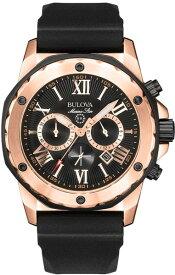 BULOVA 98B104 ブローバ マリンスター メンズ クロノグラフ ウォッチ 時計 ブラック ローズゴールド 100m防水 ラバーベルト