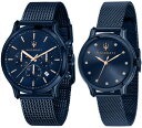 【ベルト調整無料】日本未発売 Maserati マセラティ 時計 ペア ウォッチ クロノグラフ カーブランド ブルー