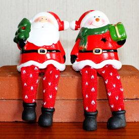 クリスマス サンタ 足ぶら 飾り 置物 [お座りサンタ おすわり スノーマン] [NGN001] 2個セット 高さ9cm [ノエル 雑貨 北欧 ミニ クリスマスツリー 小物 インテリア オブジェ パーティー トナカイ X'mas christmas]