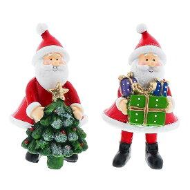 クリスマス サンタ 飾り オブジェ [プレゼントサンタ] [XIY041] 2個セット 高さ13cm [ノエル 雑貨 北欧 置物 ミニ クリスマスツリー ふわふわ インテリア パーティー トナカイ X'mas christmas]