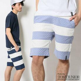 ハーフパンツ メンズ ショートパンツ ボーダー ショーツ ひざ下 膝下 ショーパン 大きいサイズ 短パン ボトムス ブロック リブ ラグ m/l/xl アメカジ ウエストゴム サーフカジュアル 膝上 ひざ下