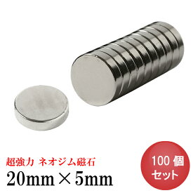 ネオジム磁石 ネオジウム磁石 100個セット 20mm×5mm 丸型 超強力 マグネット ボタン型 N35