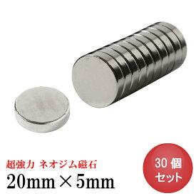 ネオジム磁石 ネオジウム磁石 30個セット 20mm×5mm 丸型 超強力 マグネット ボタン型 N35