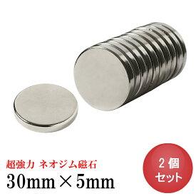 ネオジム磁石 ネオジウム磁石 2個セット 30mm×5mm 丸型 超強力 マグネット ボタン型 N35