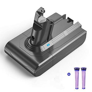 V6バッテリー フィルター2個付き DC62 DC58 DC59 DC61 DC74 SV07 SV09 掃除機用 3.0Ah 保護回路 PSE認証 YABER