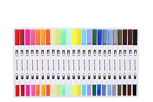 水彩毛筆 24色セット カラー筆ペン 両端ペン先 水彩筆 水彩ペン カラーペン 絵描き 塗り絵用 収納ケース付き(白)