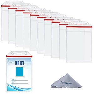 【10枚入り】IDカードホルダー 縦型 B8 Wisdompro ソフトネームケース 赤チャック付 PVC製 社員証 ・名刺・名札入れ 防水防塵 (透明)
