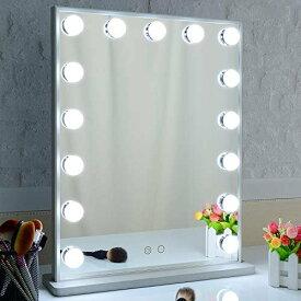Nitin ハリウッドミラー 女優化粧鏡 15個LED電球付き デイライト/ウォームライト 2色ライトモード 卓上&壁掛け両用 バニティミラー 40*50cm(シルバー)