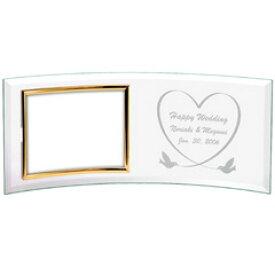 【ガラス彫刻】ガラスフォトフレーム カーブ「L」横/ 名入れエッチング 記念品・贈答品【ラッピング無料】【RCP】【代引き不可商品】