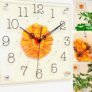 掛け時計 おしゃれ 送料無料 かわいい 花 インテリア 日本製 造花/ガーベラ/オレンジ 母の日プレゼント 新築祝い 結婚祝い ギフトラッピングしてお届けいたします