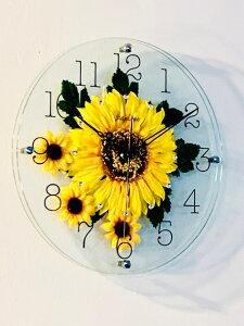 掛け時計 壁掛け時計 ウォールクロック ひまわり 花 ハワイアン 時計 壁掛け アナログ フラワー時計 スケルトン 乾電池付き 壁 インテリア リビング おしゃれ 可愛い かわいい 新築祝い 結婚