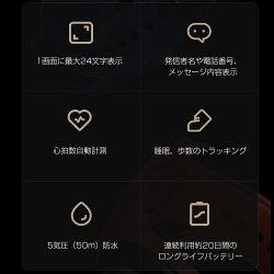 Miband3スマートウォッチ(グローバル版)【国内正規品1年保証|技適認証済】Xiaomi(小米シャオミ)正規品活動量計心拍計歩数計iphone対応androidLineTwitterSNS着信SMSGmail通知5ATM防水小型日本語アプリ