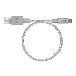 【送料無料】BraidedCharge-SyncCable(グレー/シルバー)|充電ケーブルコード長23cmUSB2.0規格MicroUSBType-AiPhoneiPadAndroid