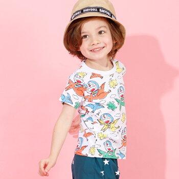4/6NEWドラえもん恐竜総柄Tシャツ4101KベビードールBABYDOLL子供服ベビーキッズ男の子女の子