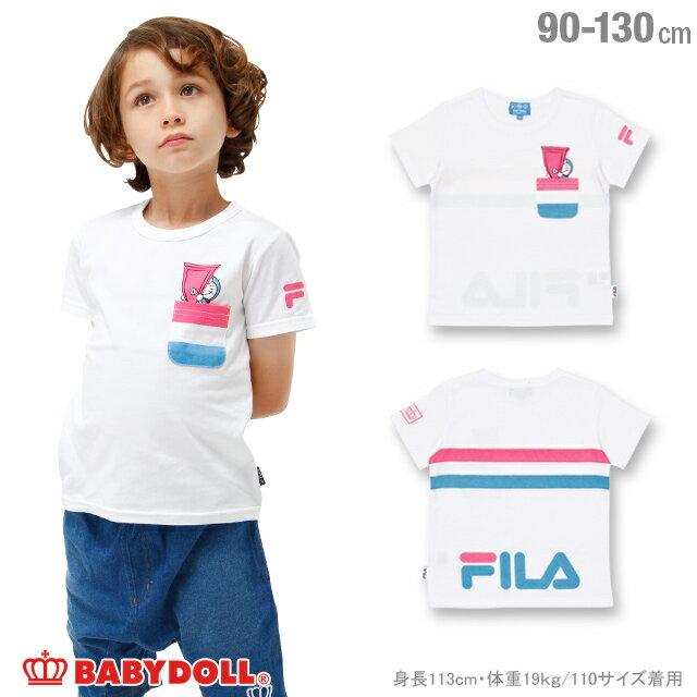 4/15一部再販 BABYDOLL ドラえもん FILA Tシャツ-子供服 男の子 女の子 ホワイト フィラ 90-130cm ベビー キッズ ベビードール starvations-1207K 2018ss_sts