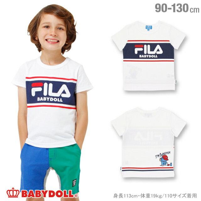BABYDOLL ドラえもん FILA Tシャツ-子供服 男の子 女の子 ホワイト 90-130cm フィラ ベビー キッズ ベビードール starvations-1208K 2018ss_sts