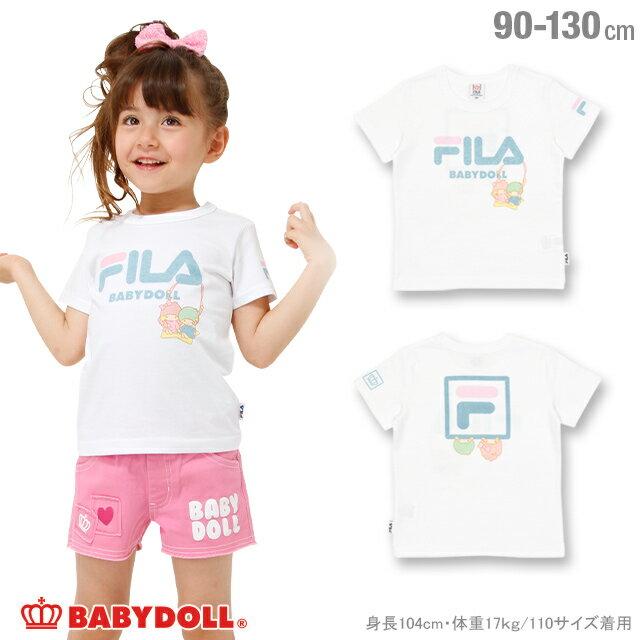 BABYDOLL サンリオ FILA キキララTシャツ-子供服 女の子 ホワイト フィラ 90-130cm ベビー キッズ ベビードール starvations-1216K 2018ss_sts