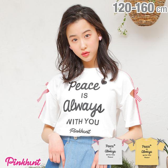 PINKHUNT ピンクハント 袖ギンガムリボン Tシャツ 2168K ベビードール BABYDOLL 子供服 キッズ ジュニア 女の子 小学生 中学生 おしゃれ かわいい PH