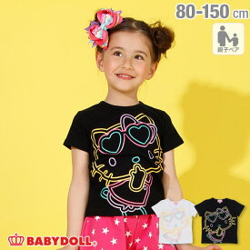 親子お揃い サンリオ ラメ BIG キャラクター Tシャツ 2290K ベビードール BABYDOLL 子供服ベビー キッズ 男の子 女の子 mail50