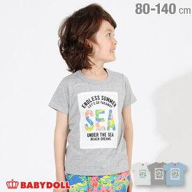 [2000円クーポン配布中&50%OFFからさらに20%OFF]【サマーSALE】リゾート柄 貼付 Tシャツ 2443K (ボトム別売) ベビードール BABYDOLL 子供服 ベビー キッズ 男の子 女の子