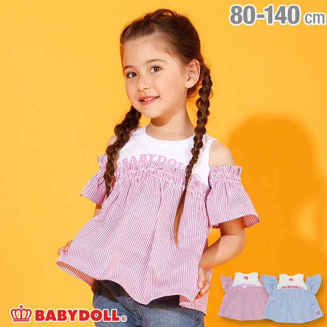 4/22NEW オフショル チュニック Tシャツ 2568K ベビードール BABYDOLL 子供服 ベビー キッズ 女の子
